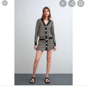 Zara Tweed plaid checked button down mini skirt